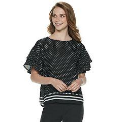 Women's ELLE™ Double Ruffle Sleeve Top