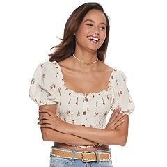 Juniors' Rewind Button Front Smocked Top