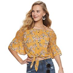 Juniors' Rewind Smocked Shoulder Button Front Top