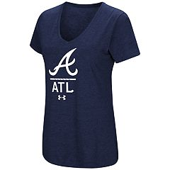 Women's Under Armour Atlanta Braves Team Lock-Up Heathered V-Neck Graphic Tee