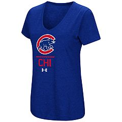 Women's Under Armour Chicago Cubs Team Lock-Up Heathered V-Neck Graphic Tee