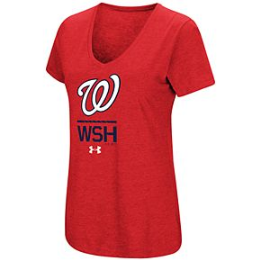 Women's Under Armour Washington Nationals Team Lock-Up Heathered V-Neck Graphic Tee