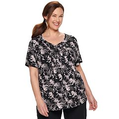 Plus Size Croft & Barrow® Short Sleeve Smocked Top