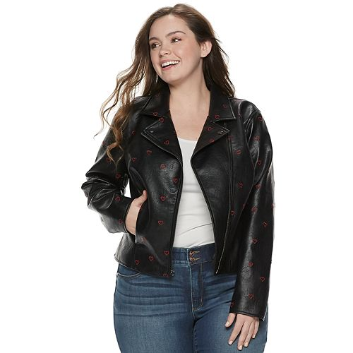 Juniors' Candie's Embroidered Heart Moto Jacket