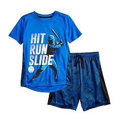 Boys 4-12 Jumping Beans® Baseball 'Hit Run Slide' Active Graphic Tee & Shorts Set