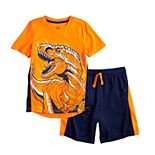 Boys 4-12 Jumping Beans® Dinosaur T-Rex Active Graphic Tee & Striped Shorts Set