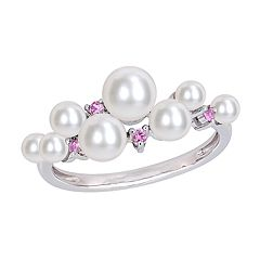 Stella Grace 10k White Gold Pink Sapphire & Freshwater Cultured Pearl Cluster Ring