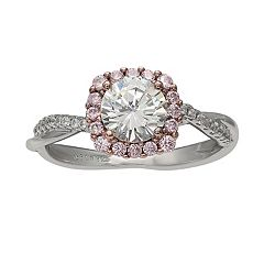PRIMROSE Two-Tone Cubic Zirconia Crossover Band Ring