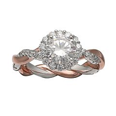 PRIMROSE Two-Tone Sterling Silver & 18k Gold Cubic Zirconia Crossover Band Ring