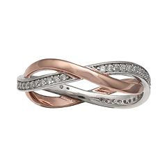PRIMROSE Two-Tone Cubic Zirconia Woven Band Ring