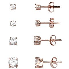 PRIMROSE Cubic Zirconia Graduated Stud Earring Set