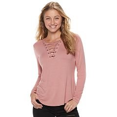 Juniors' Mudd® Long Sleeve Lace-Up Top