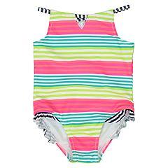 fa43107f20d87 Rashguard & Board Short Bottoms Set. Baby Girl Kiko & Max Striped One-Piece  Swimsuit