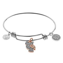 love this life 'love' Owl Charm Bangle Bracelet