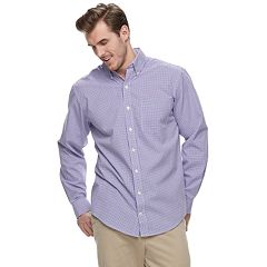 Big & Tall IZOD Premium Essentials Classic-Fit Gingham Checked Button-Down Shirt