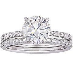 Stella Grace 14k White Gold 1/4 Carat T.W. Diamond & Created Moissanite Engagement Ring Set