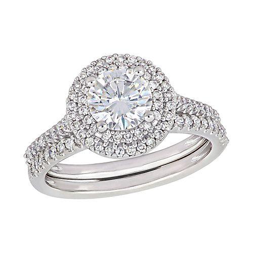 Stella Grace 14k White Gold 1/2 Carat T.W. Diamond & Lab-Created Moissanite Engagement Ring Set