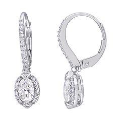 Stella Grace 10k White Gold 1/4 Carat T.W. Diamond & Lab-Created Moissanite Leverback Earrings