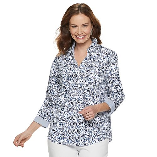 568e0630 Women's Croft & Barrow® Print Knit-to-Fit Shirt