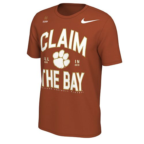 Men's Nike Clemson Tigers 2018 College Football Playoffs Claim the Bay Tee