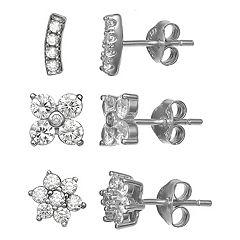 PRIMROSE Sterling Silver Cubic Zirconia Flower & Bar Stud Earring Set