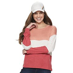 Juniors' Pink Republic Striped Hacci Top
