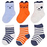 Baby / Toddler Boy Carter's 6-pack Striped Critter Crew Socks