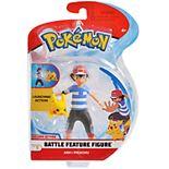 """Pokémon 4.5"""" Feature Action Figure Ash with 2"""" Pikachu"""