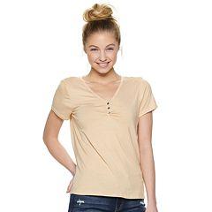 Juniors  Pink Republic Short Sleeve Knit V-Neck Top 124352b58