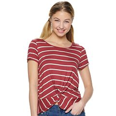 Juniors' Pink Republic Short Sleeve Twisted Front Hem Knit Top