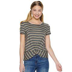 Juniors' Pink Republic Short Sleeve Twisted Front Hem Knit Top