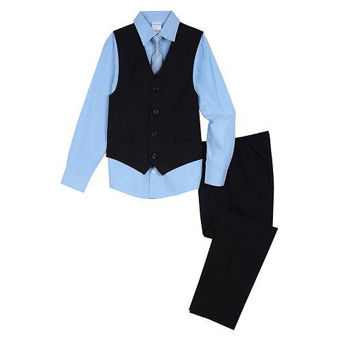 Boys Van Heusen Shadow Check Dot Vest, Shirt, Tie & Pants Suit Set