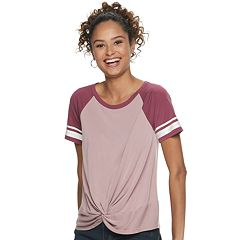 Juniors' Raglan Color Block Twisted Front Knit Tee