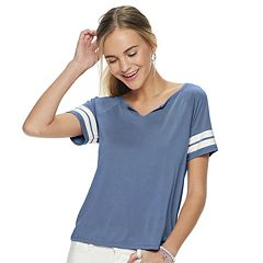 Juniors' Pink Republic Raglan Cut Out V-Neck Knit Tee