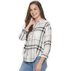 Juniors' Mudd® Oversized Drop Shoulder Button Up Top