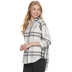 Juniors' Mudd® Oversized Raglan Flannel Shirt