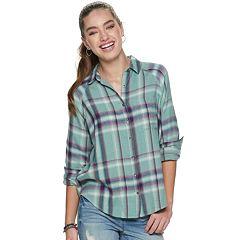 Juniors' Mudd® Oversized Raglan Flannel Shirt
