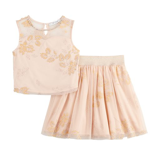 Girls 7-16 Love, Jayne Glitter Mesh Top & Pleated Skirt Set
