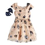 Girls 7-16 Love, Jayne Floral Skater Dress & Bow Set