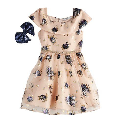 Girls 7-16 Love, Jayne Floral Skater Dress & Bow Set