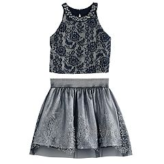 Girls 7-16 Love, Jayne Crop Top & Pleated Skirt Set
