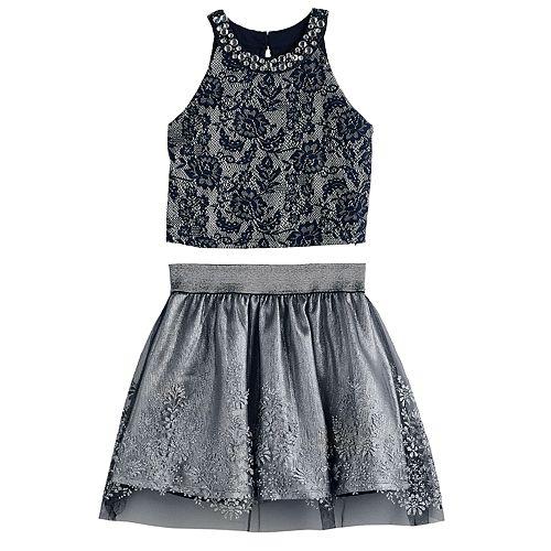 Girls 7-16 Love, Jayne Crop Top & Pleated Skirt Set