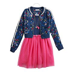 f699229846834 Girls 7-16 Beautees Fit & Flare Dress & Embroidered Jacket Set