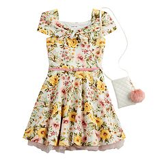 Girls 7-16 Beautees Floral Skater Dress & Purse Set