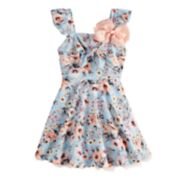 Girls 7-16 Beautees Floral Skater Dress & Hair Bow Set