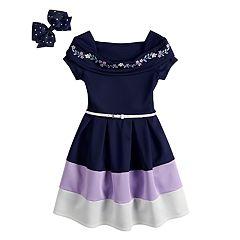Girls 7-16 Beautees Colorblock Skater Dress & Hair Bow Set