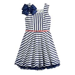 Girls 7-16 Beautees Striped Skater Dress & Bow Set