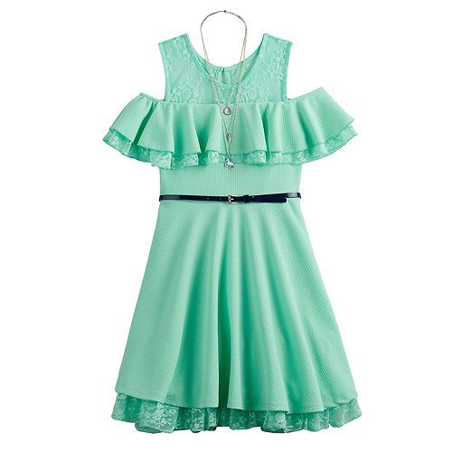 651cc5f0621e5 Girls 7-16 Beautees Cold-Shoulder Ruffle Skater Dress & Necklace Set