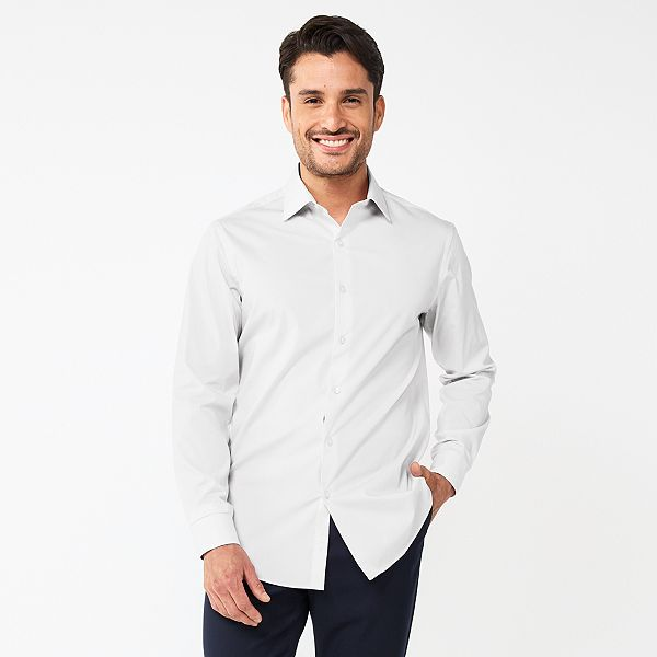 Men's Apt. 9® Slim Fit Wrinkle Resistant Spread Collar Dress Shirt