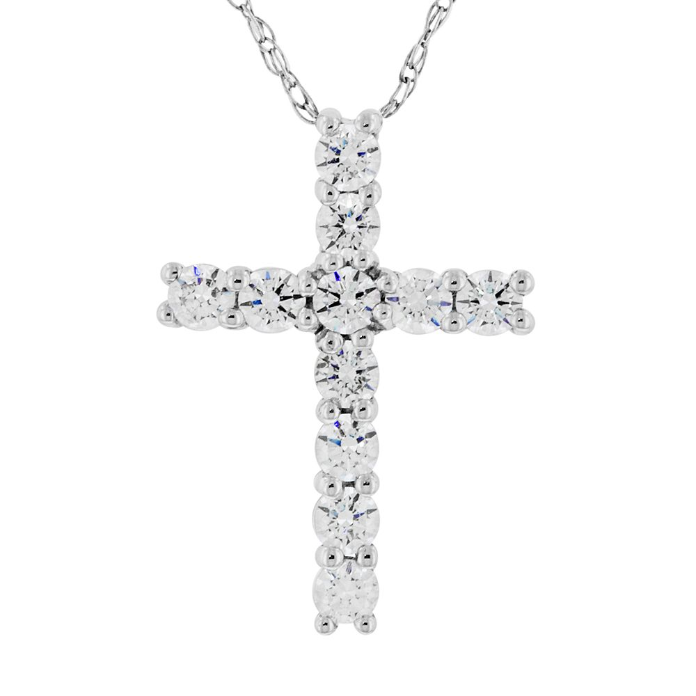 DiamonLuxe Sterling Silver 1 3-ct. T.W. Simulated Diamond Cross Pendant dce226b53